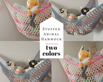Toy Hammock / Two Color Stuffed Animal Organization Net / Choose Your Own Colors!