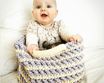 Ready to ship /XL  Large handmade chunky baby crochet basket for toys, cotton cord, vanilla/lavender,
