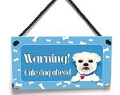 warning cute dog ahead personalized sign - pet spot wall hanger in blue accents - P2118