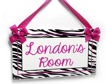 Custom White And Black Zebra Print With Shabby Hot Pink Font   Girls Door  Sign