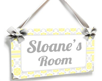 personalized nursery door decor -  white and yellow damask name plate - P2107