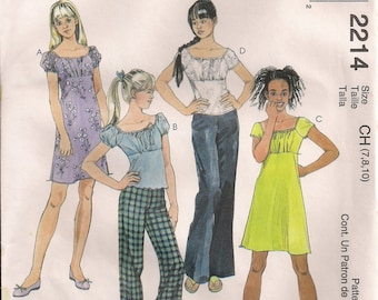 McCall's Sewing Pattern 2214 - Girls' Dress or Top and Pants (7-10)