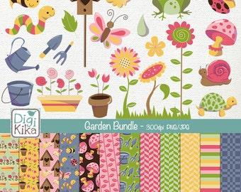 Garden Digital Bundle - Clipart and Paper Pack - scrapbooking , invitations, photo album, paper crafts, design - Instant Download