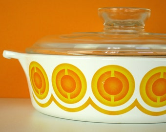 Vintage Pyroflam casserole, high quality flameware, 1970s, orange op art print, model PC 1B, made in Holland