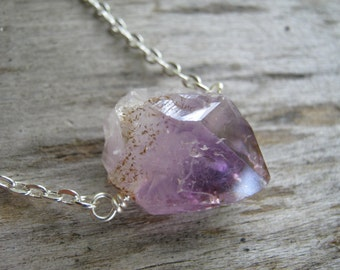 RAW Amethyst Necklace, Amethyst Crystal Point Necklace, Silver Bar Necklace, Minimalist Necklace, Choose Your Length,  READY To Ship, AN7