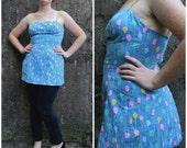 Vintage Blue Floral Bathing Suit Cover Up Mini Dress