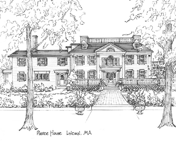 Wedding Venue Portrait -  wedding venue portrait drawn in pen and ink -  architectural illustration