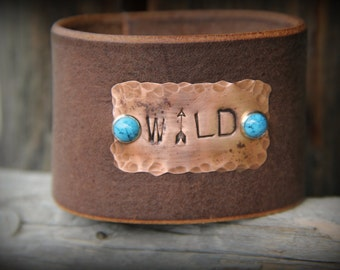 Rustic Cowgirl Leather and Copper Stamped Western Cuff - WILD, Arrow, Turquoise, Hammered Copper