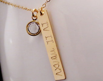 Personalized Gold Bar Necklace, Initials Roman Numeral Necklace, Hand Stamped Personalized, Name Jewelry, Birthstone Crystal