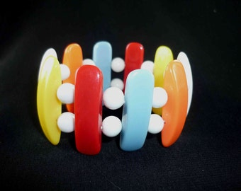 Vintage Color Block Stretch Bracelet 1980s Hard Plastic