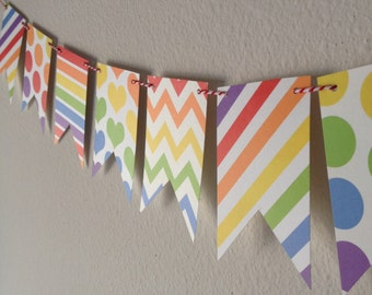 15-Pennant Mini Banner // Rainbow Banner // Rainbow Bunting // Rainbow Pennant Flag Banner // Rainbow Pennants // Rainbow Birthday Banner