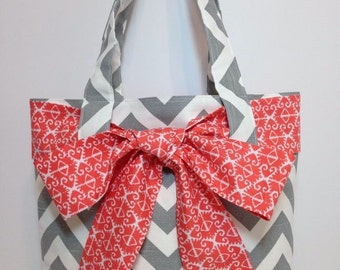 LARGE gray and white CHEVRON stripe zigzag Handbag/ Diaper Bag/ Purse/ Tote with Michael Miller Spa Ikat Coral bracelet Bow/Sash