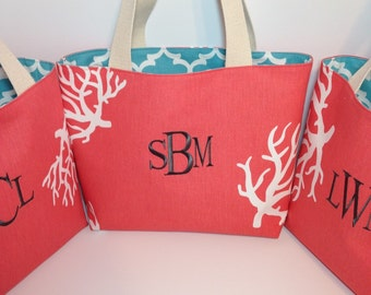 X-LARGE REVERSIBLE Turquoise Quatrefoil Fulton and Coral Handbag/ Diaper Bag/ Purse/ Tote/ Beach Bag