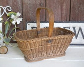 Victorian French Country Farmhouse Pennsylvania Wicker Basket Edwardian Cottage 1870s Woven Tote Industrial Vintage Berry Gathering Basket