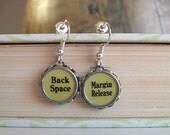 CLOSING SALE Free Shipping Vintage Typewriter Key Earrings Margin Release Back Space Unique