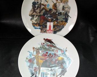 Olympics decorative plates, vintage limited edition 1980 Summer Winter Olympics commemorative plates, Alton S Toney art, sports memorabilia