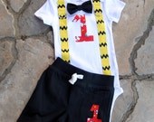 Charlie Brown Snoopy Boys Tie Bodysuit with Yellow and Black Suspenders and Shorts -  Birthday, Photo Prop, First Birthday
