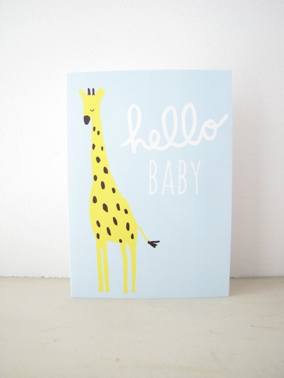 Hello Baby Greeting Card, Blank Notecard Stationery, welcome new baby, boy baby shower, blue giraffe, jungle safari animal illustration