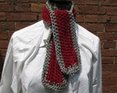 Accent Scarf Crochet Acrylic Washable Colorful Warm Soft Handmade Smooth Adjustable Red Grey