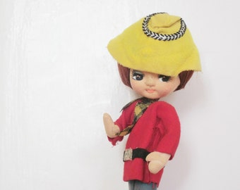 """Vintage french doll, Vintage toy, 1960, Poupée en tissu, France, 11.8"""""""