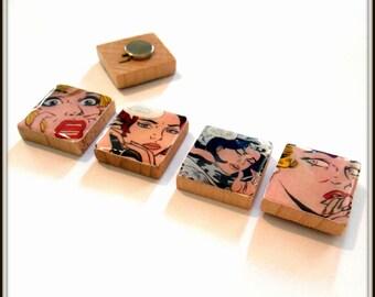 Roy Lichtenstein Pop Art Scrabble Tile Magnet Set of 4