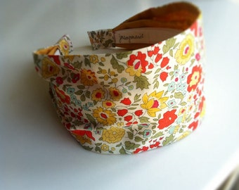 Liberty of London fabric headband cotton hairband for women yellow orange and blue flowers sweet country hairbands for women