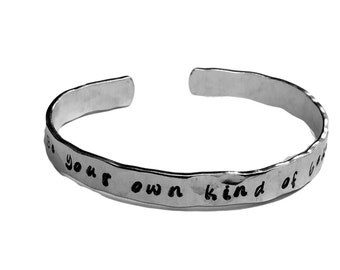 """Be your own kind of beautiful - Confidence Bracelet Cuffs 1/4"""" Hand Stamped Aluminum Copper Brass"""