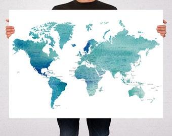 World Map Art Print Poster Countries Names Watercolor - Travel Map World Map - Pin Trip Adventures, Summer Gift Idea  - Medium - XLARGE