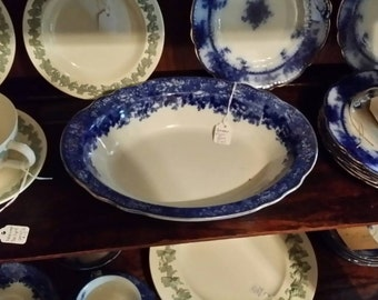 Antique Dundee  Flow Blue 10 inch  Oval Vegetable Dish by Ridgway