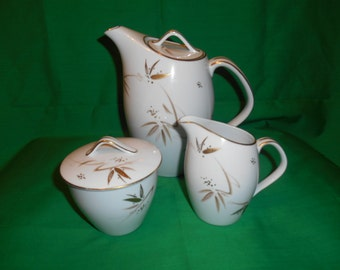 One (1), Vintage Porcelain Coffee Pot, Creamer and Sugar Bowl with Lid, from Noritake China, in the TOKO-RI 5786 Pattern