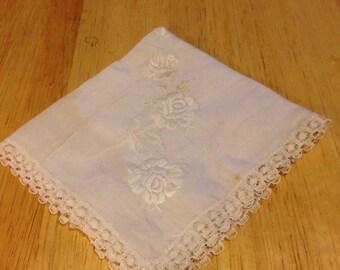 White on White Flower Lace Handkerchief