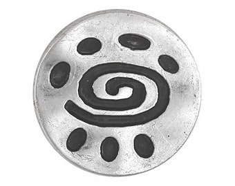 12 Spiral Glyph 7/8 inch ( 22 mm ) Metal Buttons Antique Silver Color