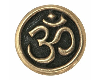 2 TierraCast Om Symbol 5/8 inch ( 16 mm ) Pewter Buttons Brass Color