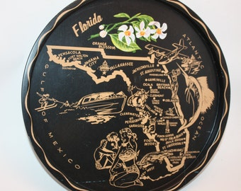 Vintage Florida Colorful Black Tin Souvenir Serving Tray Collectible, Vintage Condition, State Map and Points Of Interest