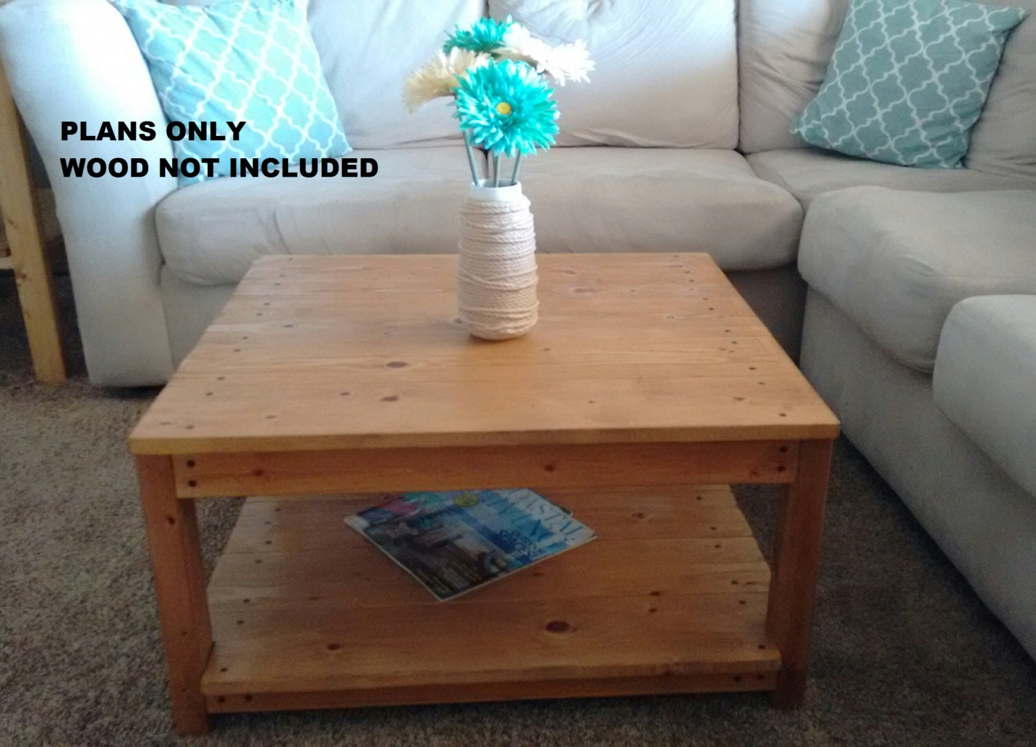 Diy plans to make square wooden coffee table for Square coffee table plans