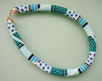 Beaded Necklace - Beaded Crochet Necklace-Blue Necklace