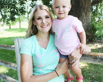 Arrows in Mint/Pink Mommy and Me shirt set