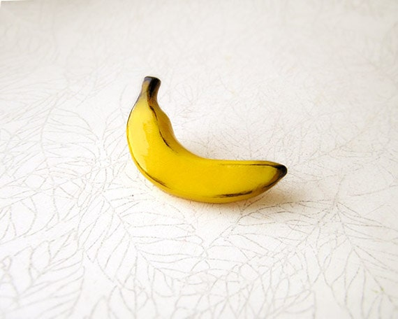 Sale Banana Yellow Brooch for summer mood, funny tropical fruit jewelry, summer bright jewelry, year of the monkey