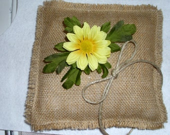 Rustic Burlap Wedding Ring Bearer Pillow in 16 Colors Burlap with choice of flower color