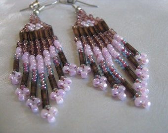 Statement Native Look Earrings - Vintage Dangle Pink Beaded Earrings - Pink Chandeliers