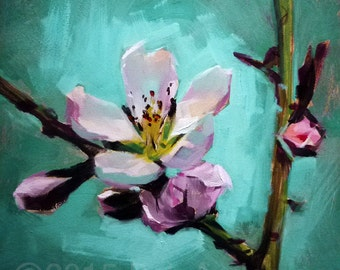 Oil Painting of a Peach Blossom