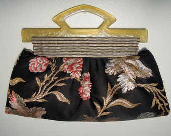 Clutch Purse/Pleated Clutch, Stylish&Cute, Handmade from Silk Fabric with Colorful Embroidered Floral Pattern and Two Golden Lucite Handles