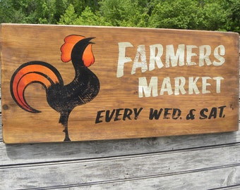 "Farmers Market Sign, original , hand painted. ""faux"" vintage, sign,art,wooden sign ZF FM 4"