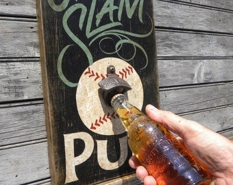 Grand Slam  Baseball  Brew Pub style Sign,  wooden  , bar style ,wall hanging ZS B GS2