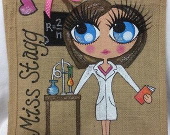 Handpainted Personalised Doctor Jute Handbag Gift Bag Hen Party Celebrity Style