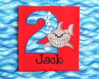 SHARK SHIRT BIRTHDAY Shirt Personalized Shark Fish Ocean Waves - Boy - Name - Number Shirt - Tshirt - Infant - Toddler - Clothing