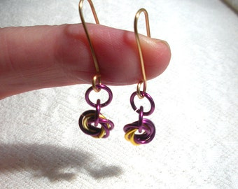Purple and Yellow Chain Mail Earrings, Chainmaille, Handmade Artisan Ear Wires, Mobius Roses, Gift for Her, Gift Under 50