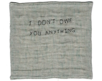 Embroidered linen handkerchief from Real Talk series