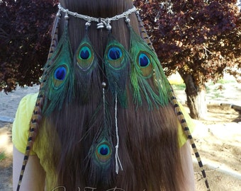 Peacock And Pheasant Feather Beaded Hemp Headband Tribal Festival Wear Bohemian Hippie Hair Jewelry