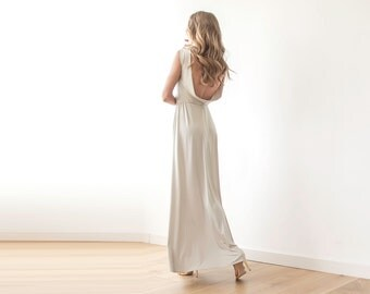 Backless maxi champagne sleeveless gown, Maxi short sleeves gown
